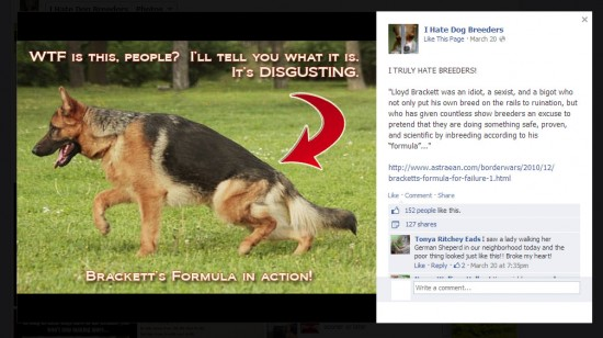 "The ""I Hate Dog Breeders"" Facebook group is using my essays for propaganda."